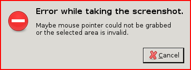Error while taking the screenshot: Maybe mouse pointer could not be grabbed or the selected area is invalid.
