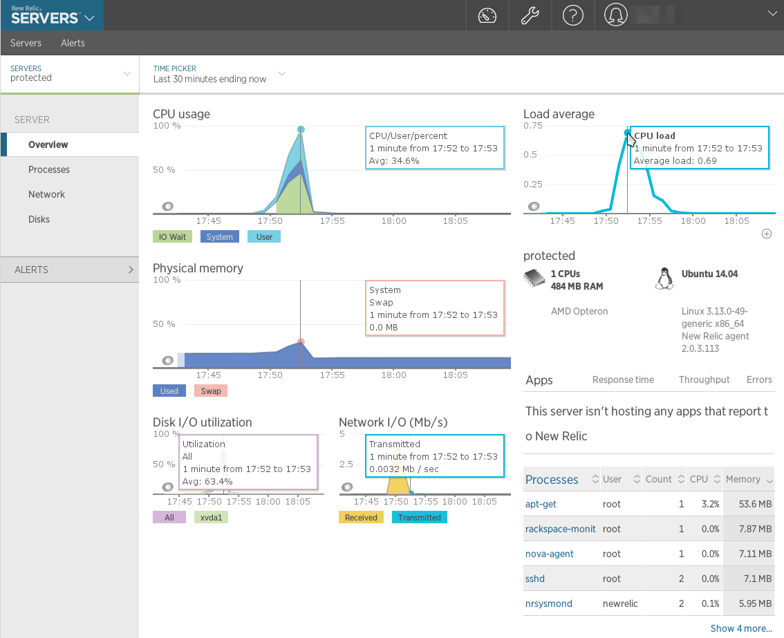 NewRelic - Server Overview